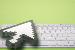 Computer keyboard on green background. computer signs. 3d rendering. 3D illustration. Stock Photos