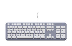 Computer keyboard grey. Color vector flat design Royalty Free Stock Image