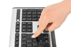 Computer keyboard and hand Royalty Free Stock Image