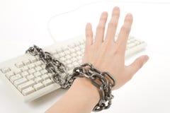 Computer Keyboard and hand Stock Photos