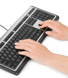 Computer keyboard and hands Royalty Free Stock Image