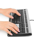 Computer keyboard and hands Royalty Free Stock Photos