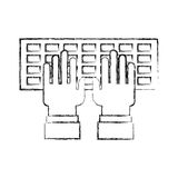 Computer keyboard with hands user. Vector illustration design Stock Photography