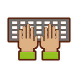 Computer keyboard with hands user. Vector illustration design Stock Images
