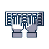 Computer keyboard with hands user. Vector illustration design Stock Image