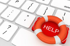 Computer Keyboard with Help button and lifebuoy Royalty Free Stock Photos