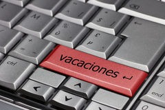 Computer Keyboard with Vacaciones Stock Photography