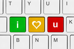 Computer keyboard with I love You keys. Internet concept Stock Photography