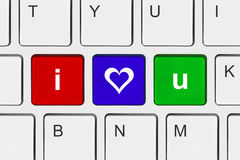 Computer keyboard with I love You keys Royalty Free Stock Images