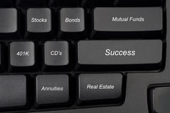 Computer keyboard investment options. Computer keyboard keys with investment options provide guidance to success Stock Photo