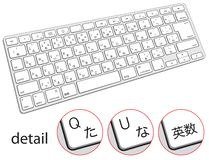 Computer keyboard with japanese symbols, hieroglyphs, hiragana vector illustration