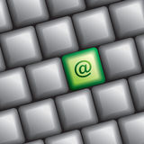 Computer keyboard with at the key Royalty Free Stock Photography