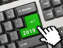Computer keyboard with 2019 key stock photos