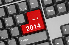 Computer keyboard with 2014 key royalty free stock photography