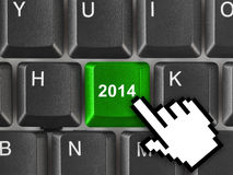 Computer keyboard with 2014 key. Holiday concept Stock Image