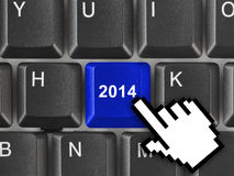 Computer keyboard with 2014 key Royalty Free Stock Image