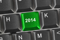 Computer keyboard with 2014 key Stock Images