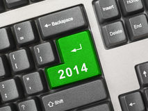 Computer keyboard with 2014 key Royalty Free Stock Images