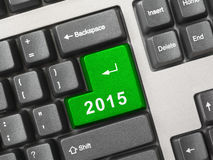 Computer keyboard with 2015 key Stock Photos