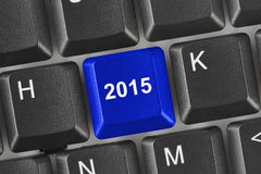 Computer keyboard with 2015 key Royalty Free Stock Photography