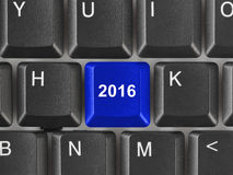 Computer keyboard with 2016 key Royalty Free Stock Photography