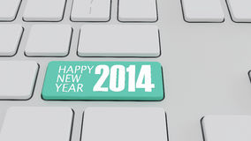 Computer keyboard with 2014 key - holiday concept Stock Image