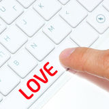 Computer keyboard with key love Royalty Free Stock Photos