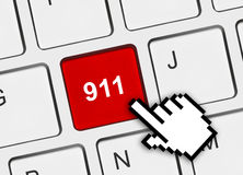 Computer keyboard with 911 key Stock Images