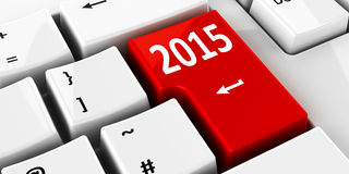 Computer keyboard 2015. Computer keyboard with 2015 key, three-dimensional rendering Royalty Free Stock Photos