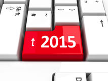 Computer keyboard 2015. Computer keyboard with 2015 key, three-dimensional rendering Stock Photos