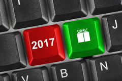 Computer keyboard with 2017 keys Stock Photos