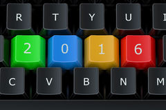 Computer keyboard with 2016 keys, New Year concept Stock Images