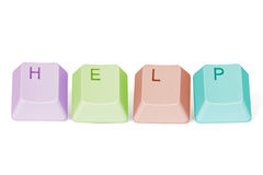 Computer keyboard keys spelling HELP. On white background Royalty Free Stock Photo