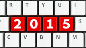 Computer keyboard 2015. Computer keyboard with 2015 keys, three-dimensional rendering Stock Photo