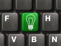 Computer keyboard with lamp key Royalty Free Stock Photos
