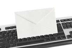 Computer keyboard and letter Royalty Free Stock Images