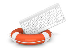 Computer Keyboard with lifebuoy Stock Photo