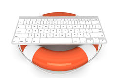 Computer Keyboard with lifebuoy Stock Photography