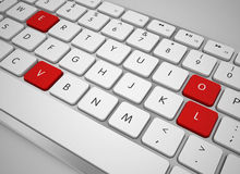 Computer keyboard and love letters key Royalty Free Stock Photo