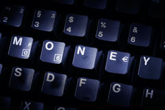 Computer keyboard money stock photo