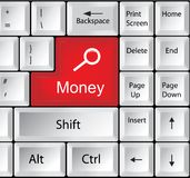 Computer Keyboard with Money - Business Concept Stock Photography