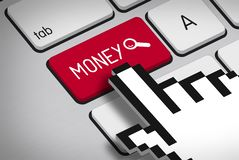 Computer Keyboard with Money Button and Hand Curs Stock Photography