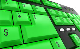 Computer keyboard with money keys. Computer keyboard with green dollar money keys Royalty Free Stock Photos