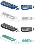 Computer keyboard and mouse. Illustration of computer keyboard and mouse in different styles - color, black and white line, flat and isometric Royalty Free Stock Photos