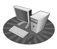 Computer with keyboard & mouse. Woodcut style vector of a computer with keyboard and mouse viewed from top stock illustration