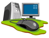 Computer with keyboard & mouse. Woodcut style vector of a computer with keyboard and mouse viewed on ground level royalty free illustration