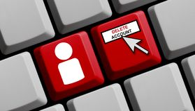 Computer Keyboard: Delete Account. Computer Keyboard with Mouse arrow and Person showing Delete Account royalty free stock photos