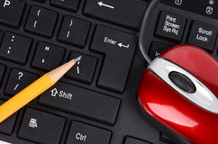 Computer keyboard,mouse and pencil Stock Photo