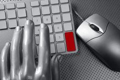 Computer keyboard mouse silver hand futuristic Royalty Free Stock Images