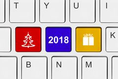 Computer keyboard with new year keys. Holiday concept Stock Image
